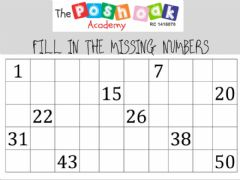 Interactive worksheet Fill in missing letters 1-50