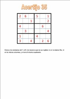 Interactive worksheet Sudoku de 6 acertijo 35