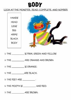 Interactive worksheet Body: a monster