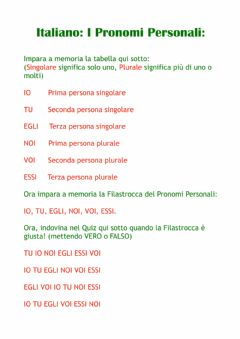 Interactive worksheet Pronomi Personali Italiano