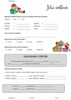 Interactive worksheet Vocabulary suffixes teen jobs