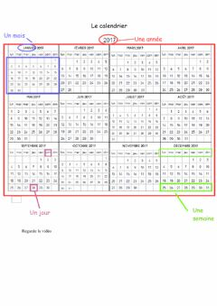 Interactive worksheet Le calendrier