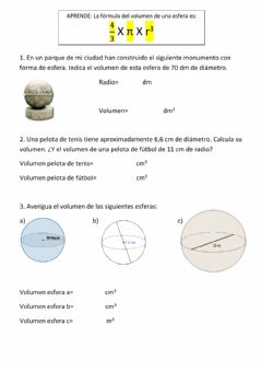 Interactive worksheet Volumen esferas