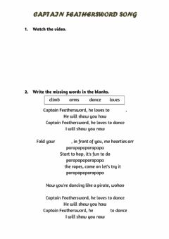 Interactive worksheet Captain Feathersword Song