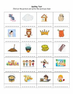 Interactive worksheet Spelling Test - June 08-12 B
