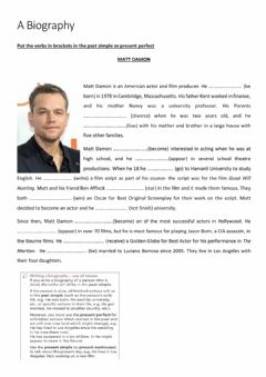 Interactive worksheet Matt Damon's Biography
