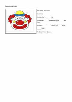 Interactive worksheet Describing a Clown