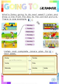 Interactive worksheet Listening activities related to Going to