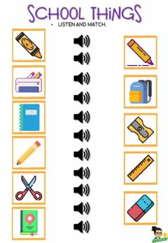 Interactive worksheet School things - matching