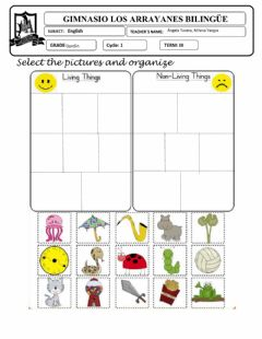 Interactive worksheet Ficha Living and non-living things