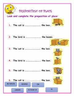Interactive worksheet Preposition of place