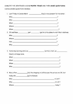Interactive worksheet Question forms