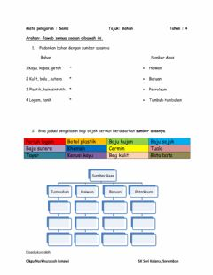 Interactive worksheet Bahan - Sains Tahun 4