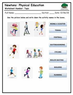 Interactive worksheet Identify the sports activties
