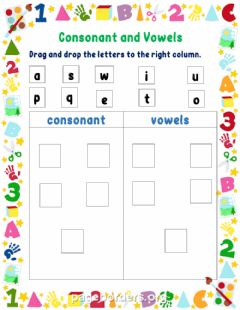 Interactive worksheet Consonants and Vowels