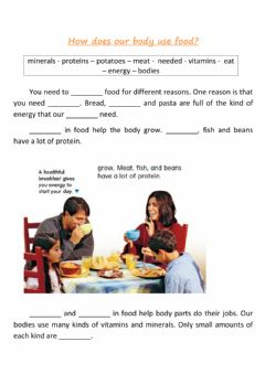 Ficha interactiva How does our body use food?