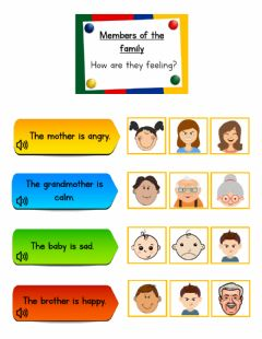 Interactive worksheet Family members and emotions