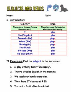 Interactive worksheet Subject and verb