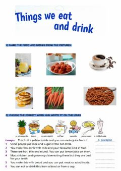 Interactive worksheet What we eat and drink