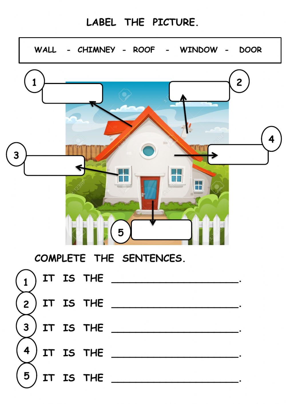 Parts of the house interactive worksheet for grade1