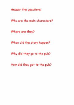 Interactive worksheet Questions for the story