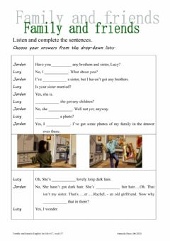 Interactive worksheet family and friend-has-have got