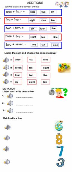 Interactive worksheet Numbers and sums