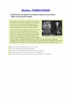 Interactive worksheet Reading: Thomas Edison.