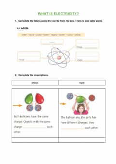 Interactive worksheet What is electricity?
