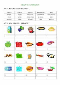 Interactive worksheet Healthy-unhealthy food