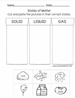 Interactive worksheet Matter - solid liquid gas