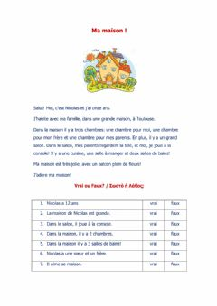 Interactive worksheet Ma maison