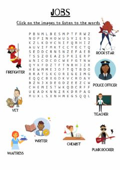 Ficha interactiva JOBS. Wordsearch