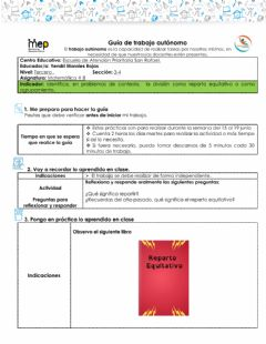 Interactive worksheet Reparto equitativo