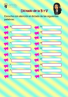 Interactive worksheet Dictado de la b y v