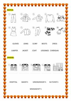 Interactive worksheet Clothes and places