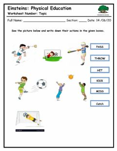 Interactive worksheet Identify the actions