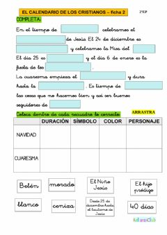 Interactive worksheet El calendario de los cristianos 2