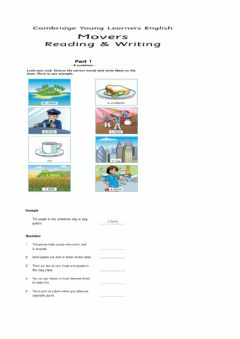 Ficha interactiva Movers reading and writing