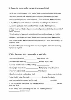 Interactive worksheet Comparison of long adjectives