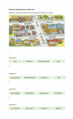 Ficha interactiva Directions and Map Practice: Where am I?