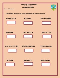Interactive worksheet Sílaba tónica