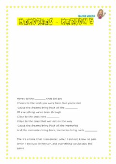 Interactive worksheet Memories Maroon 5 Lyrics