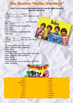 Interactive worksheet The Beatles: Hello, Goodbye