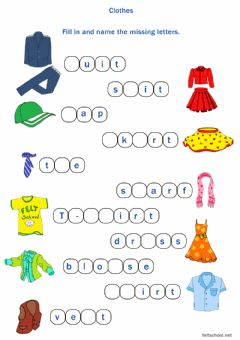 Interactive worksheet Clothes Fill in the missing letters