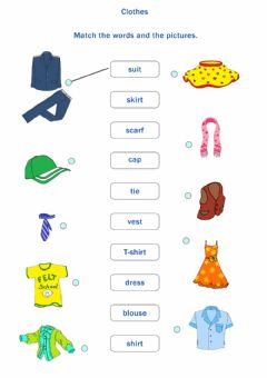 Interactive worksheet Clothes. Match the words and the pictures.
