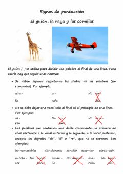 Interactive worksheet El guion, la raya y las comillas