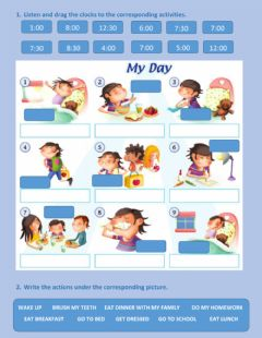 Interactive worksheet Time and daily activities