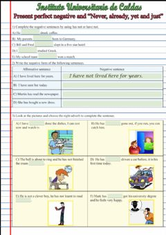Interactive worksheet Present perfect negative and adverbs