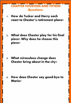Interactive worksheet The Cricket in Times Square Chapter 14 and 15
